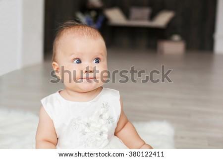 funny smiling baby girl - stock photo