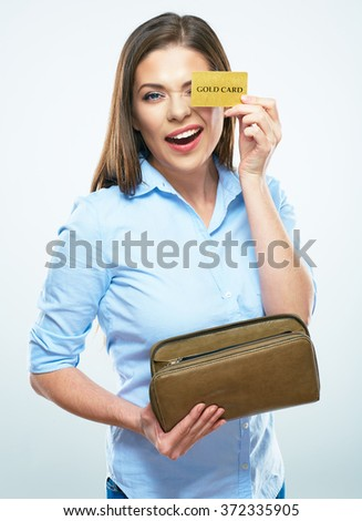 Funny smiling business woman hold credit card. White background isolated. - stock photo