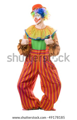 Funny smiling clown. Isolated on white background - stock photo