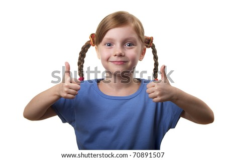 Funny smiling little girl portrait isolated over white background (little thumbs up) - stock photo