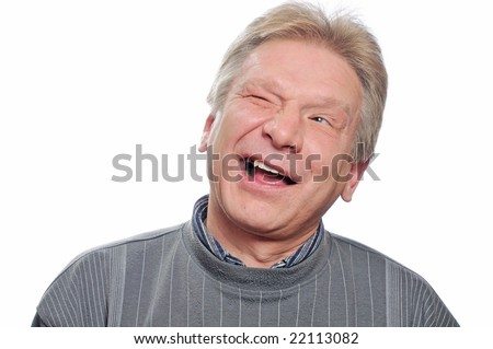 funny smiling man on isolated background