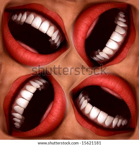 funny smiling mouths seamless tile pattern background - stock photo