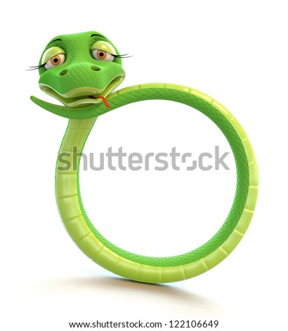 Funny snake in the form of number zero. - stock photo