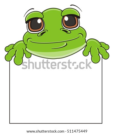 funny snout of frog stick out fron blank poster