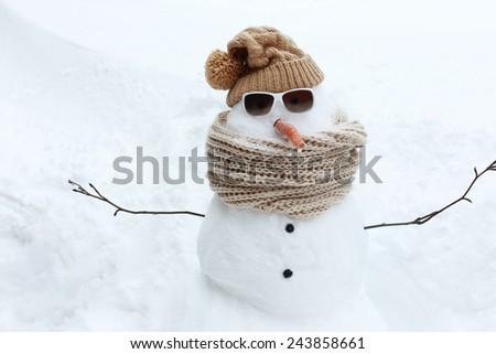 Funny Snowman - stock photo