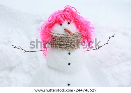 Funny Snowman - stock photo