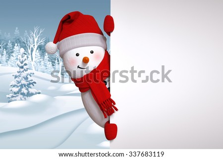 funny snowman blank banner, winter landscape, nature background, snowy forest