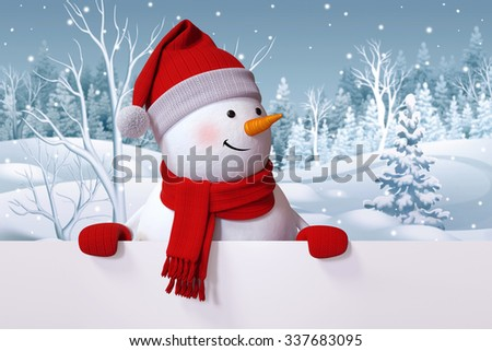 funny snowman blank banner, winter nature background, snowy forest - stock photo