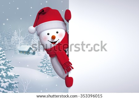 funny snowman over winter background, Christmas Holiday greeting card, 3d illustration - stock photo