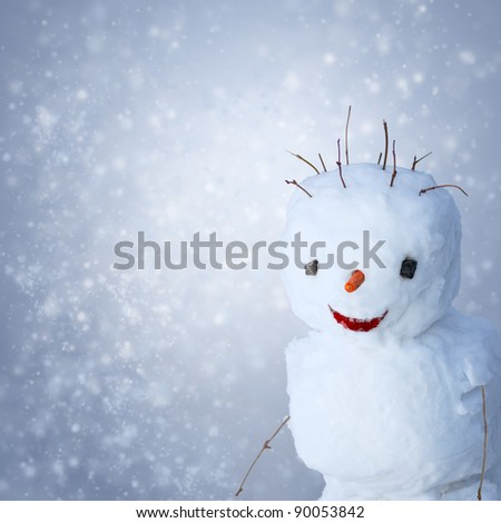 Funny Snowman with carrot and sticks under snowy background - stock photo