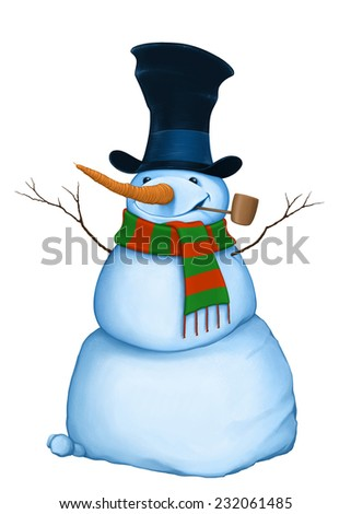 Funny snowman with pipe, hat and scarf - stock photo