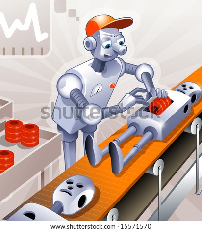 Funny specialist robot-worker is assembling other robots on the conveyor. - stock photo