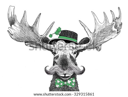 funny st patricks day illustration, cute hand drawn moose cartoon character with handlebar mustache, round hipster hat with four leaf clovers in brim, green bow tie with lucky clover print pattern - stock photo