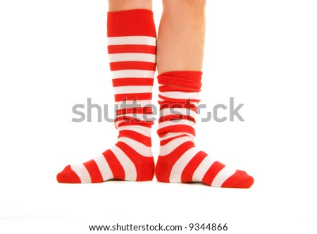 funny striped red socks isolated on white - stock photo