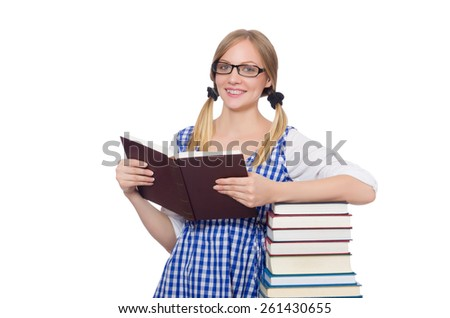 Funny student with stack of books - stock photo