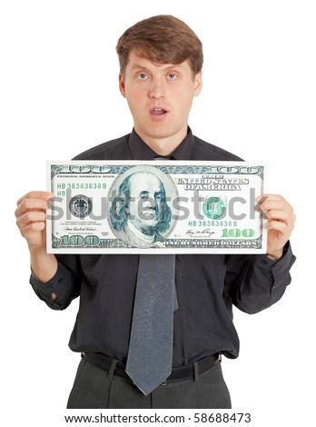 Funny stupid man is holding a lot of money