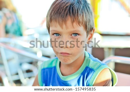 funny summer little boy outdoors