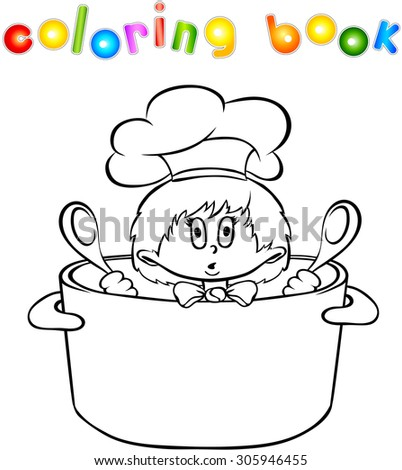 Funny surprised kitchen boy coloring book. Illustration - stock photo