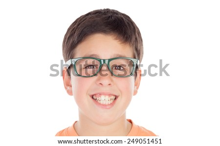 Funny teenage boy of thirteen looking at camera isolated on white background - stock photo