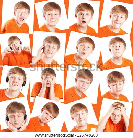 funny teenager,expressions set over white background - stock photo
