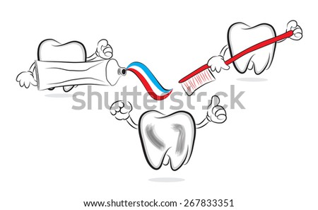 Funny teeth doing brushing with toothpaste - stock photo