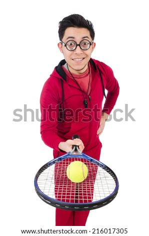 Funny tennis player isolated on white - stock photo