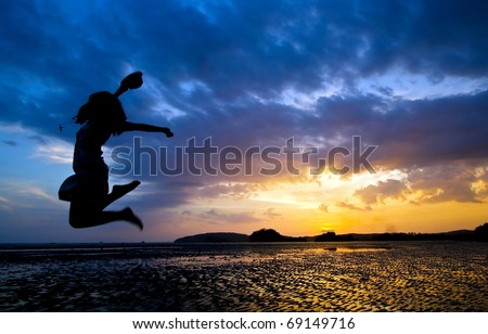 Funny time in dusk at Phranang Beach near Phuket Thailand - stock photo
