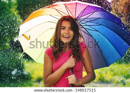 Funny time in summer rain - stock photo