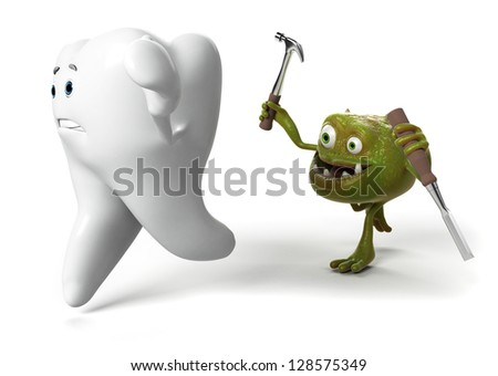 funny tooth and bacteria - stock photo