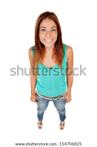 Funny top view of a beautiful girl isolated on white - stock photo