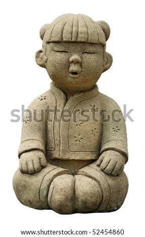 Funny traditional Thai garden sculpture in meditation. Isolated over white.