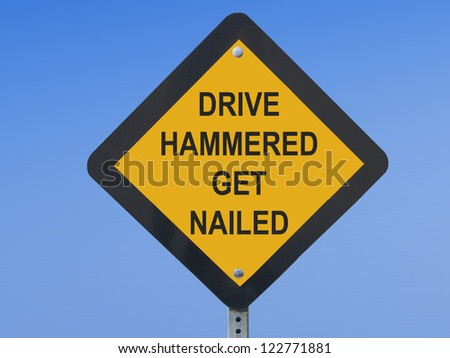 Funny traffic sign warning against driving drunk - stock photo