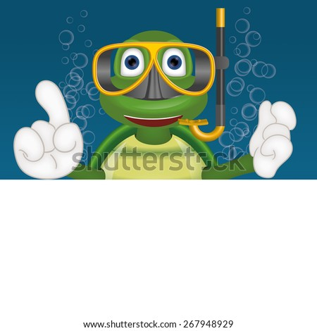 Funny turtle with diving mask under water comic cartoon