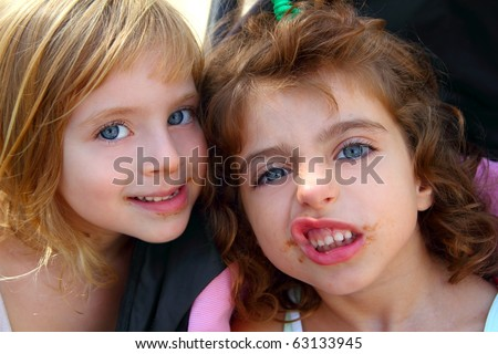 funny two little sister girls funny face gesture dirty mouth