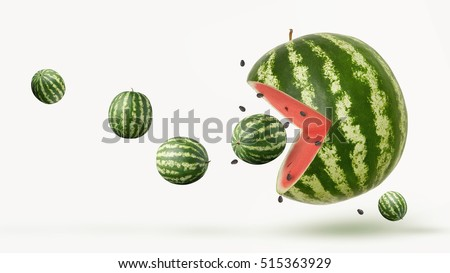 funny watermelon on a white background