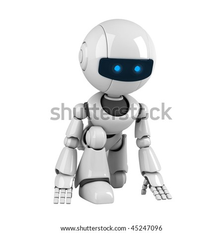Funny white robot getting ready