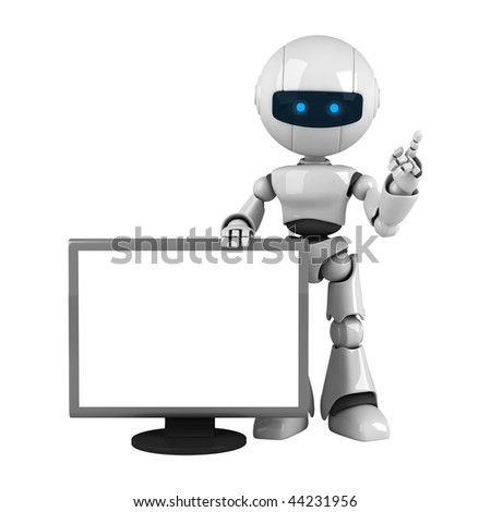 Funny white robot stay with monitor - stock photo