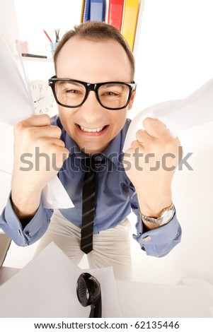 funny wideangle picture of businessman in office - stock photo