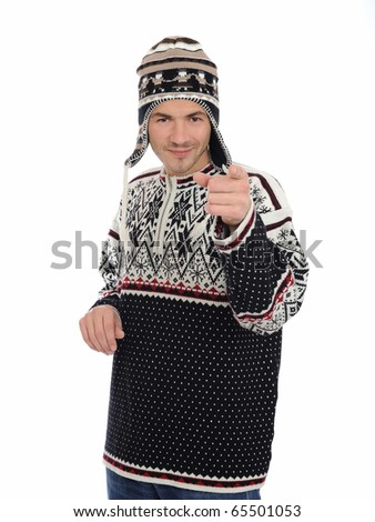 Funny winter man in warm hat and clothes smiling. isolated on white background - stock photo