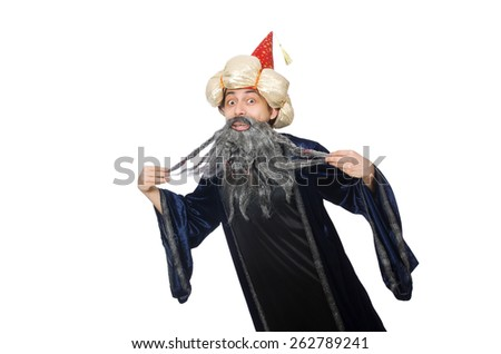 Funny wise wizard isolated on the white - stock photo