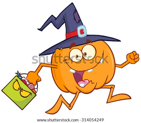 Funny Witch Pumpkin Cartoon Character Running With A Halloween Candy Basket. Raster Illustration Isolated On White - stock photo