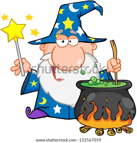 Funny Wizard Waving With Magic Wand And Preparing A Potion. Raster Illustration.Vector Version Also Available In Portfolio. - stock photo