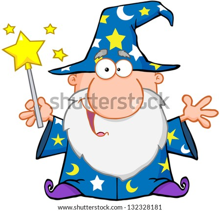 Funny Wizard Waving With Magic Wand. Raster Illustration.Vector Version Also Available In Portfolio. - stock photo