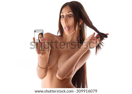 Funny woman making selfie on white background. isolated. studio shot. horizontal. copy space. - stock photo