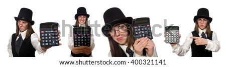 Funny woman with calculator isolated on white - stock photo