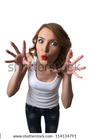 Funny woman with comic head scare isolated - stock photo