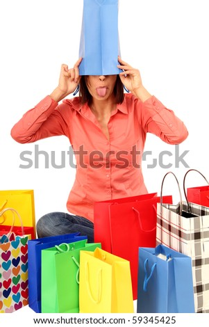 Funny Woman with Shopping-Bags
