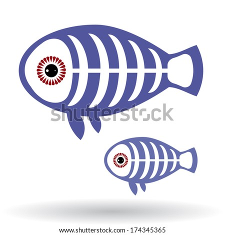 Funny X-ray fish on a white background.  - stock photo