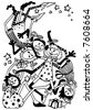 funny xmas angels (uncoloured version) - stock photo