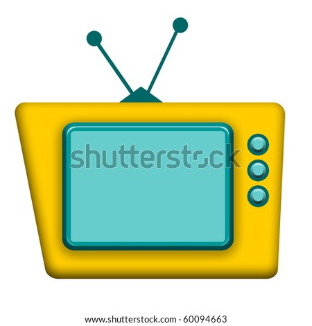 Funny yellow retro TV isolated over white background - stock photo
